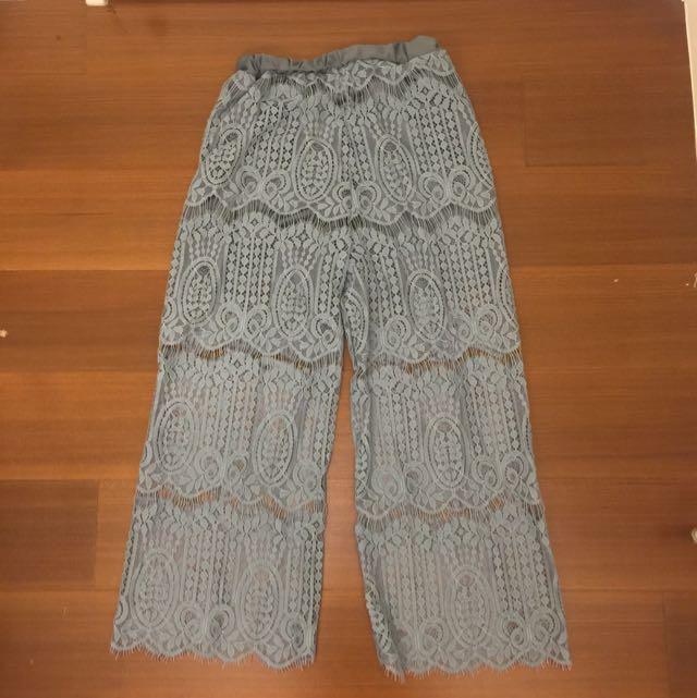 湖水藍蕾絲寬褲