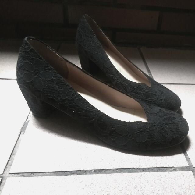 黑色 蕾絲花紋 高跟鞋👠#交換最划算#女裝五折出清