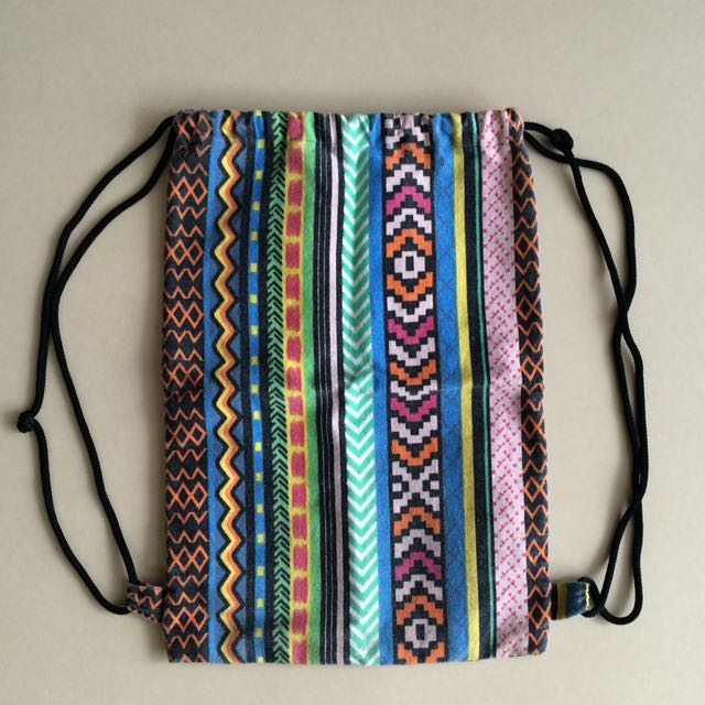 Aztec Print Drawstring Bag