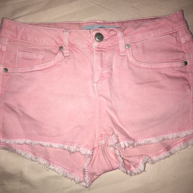 baby pink booty shorts by topshop