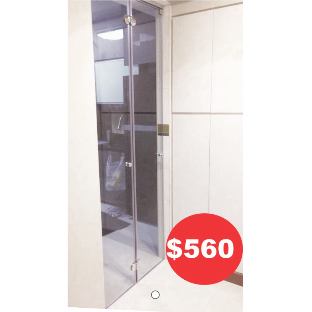 Bi fold glass door -Made in Singapore (10mm thick tempered glass ...