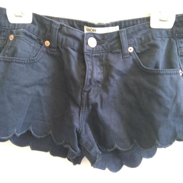 Black Cotton On Scallop Denim Shorts