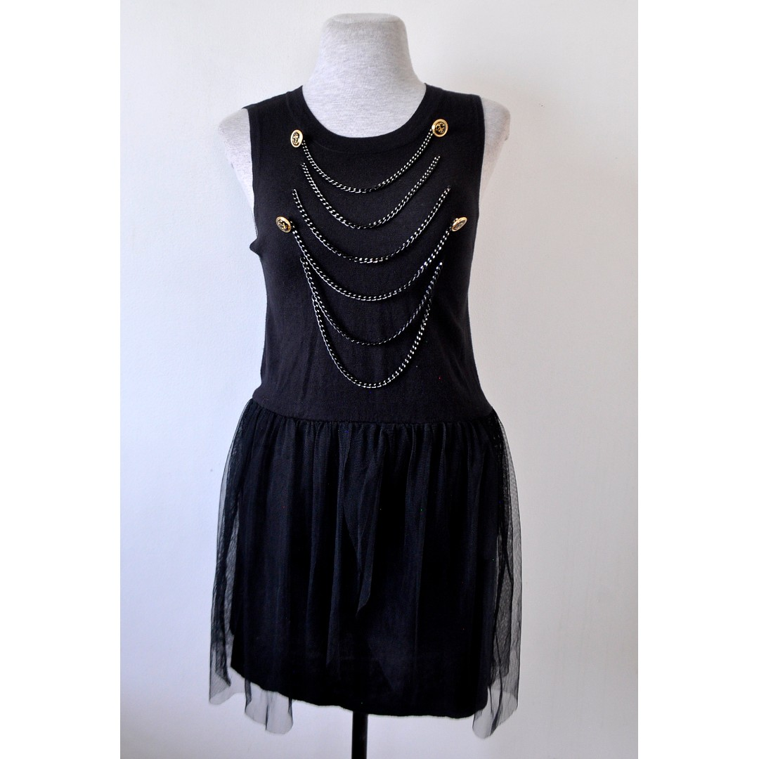 Black Knit Dress with Metal Chains