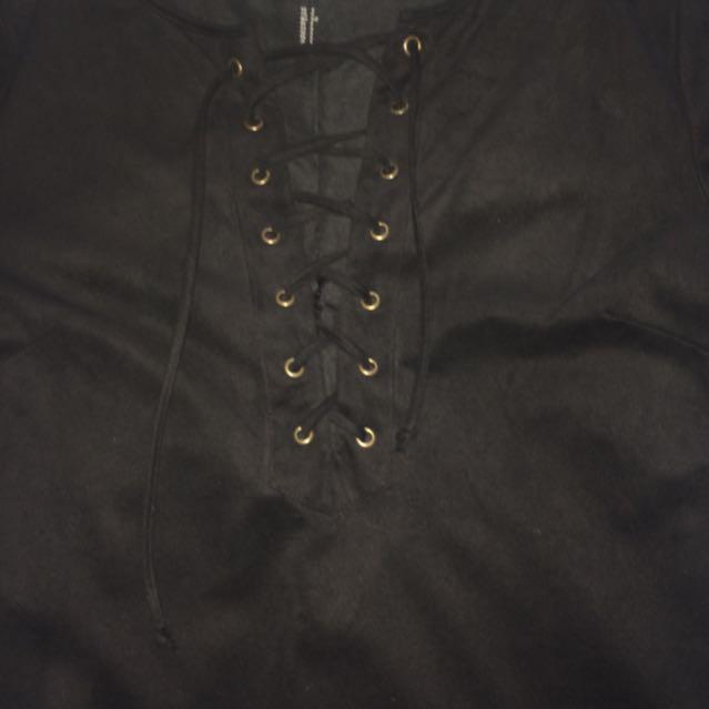 Black Tie Up T Shirt Dress