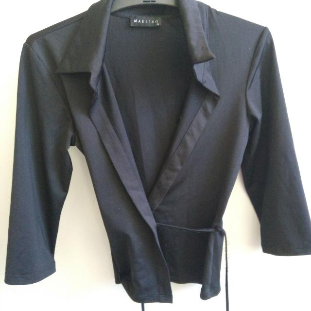 Black Wrap Blazer Jacket Xs