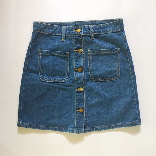 Blue Denim Skirt Two Pockets