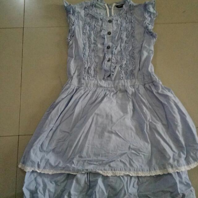 Blue Pinstripe Dress For Girls 7-9yrs Old