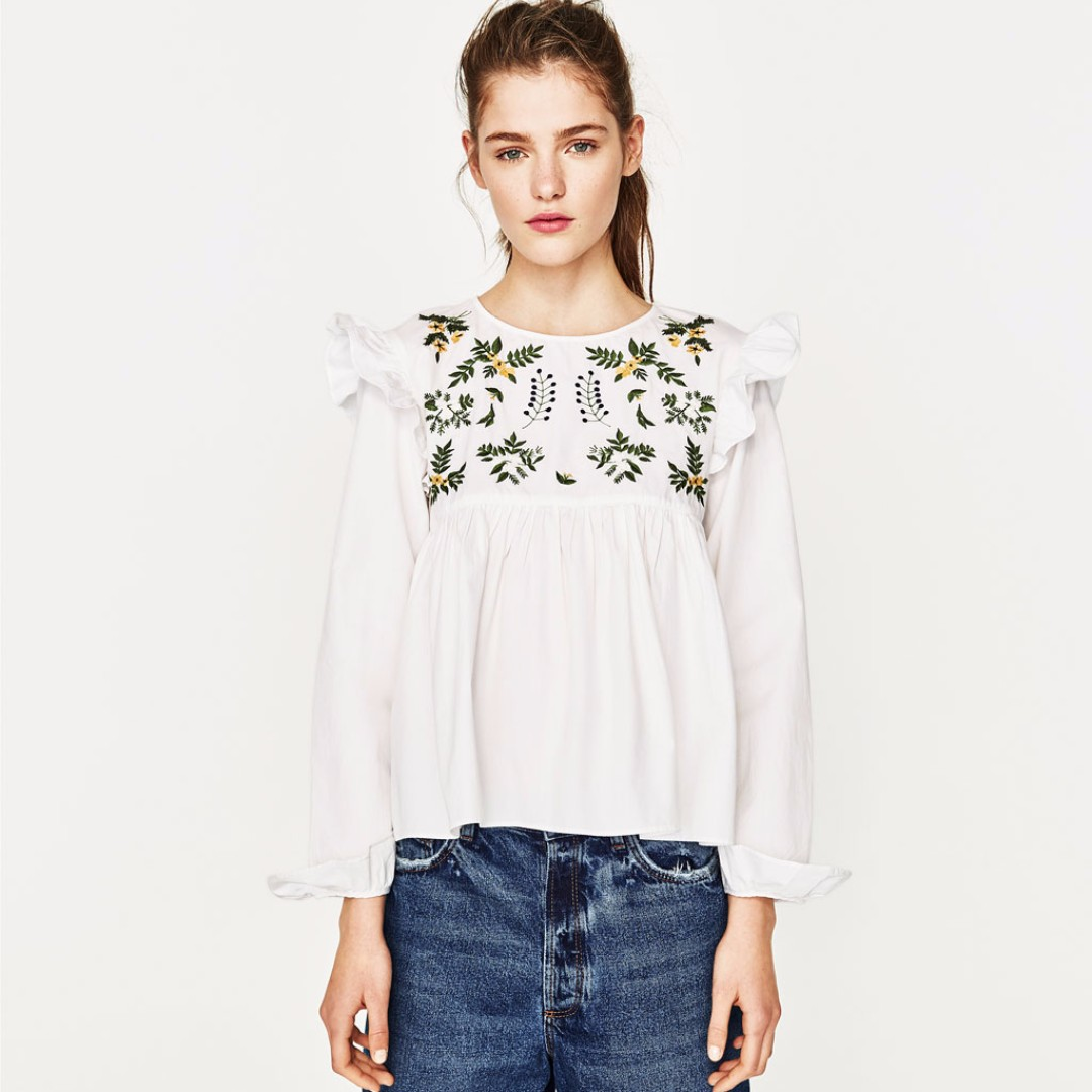 559a5f06fa BNWT Zara White Frilly Embroidered Floral Top (replica)