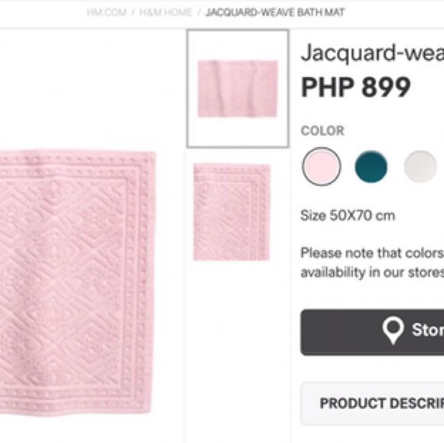 Brand New H&M Bath Mat (Pink)