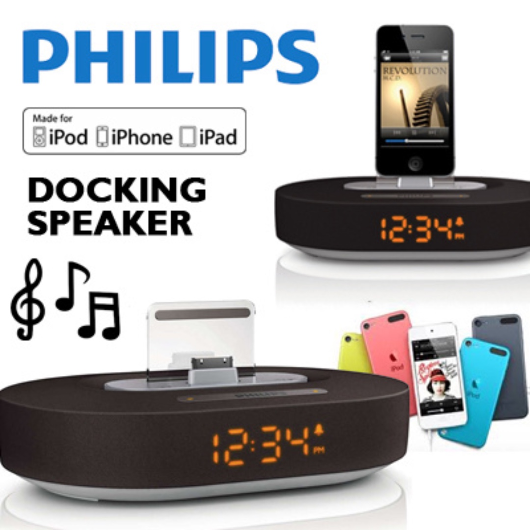 Brand New Philips Ds1200 98 Docking Speaker For Iphone Ipod Ipad Nakamichi My Mini Plus With Fm Radio Pink Clock Display Electronics Audio On Carousell