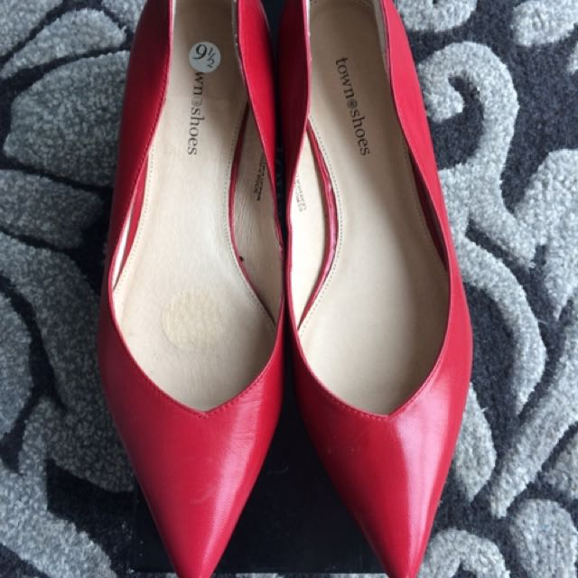 Brand New Town Shoes Red Leather Flats