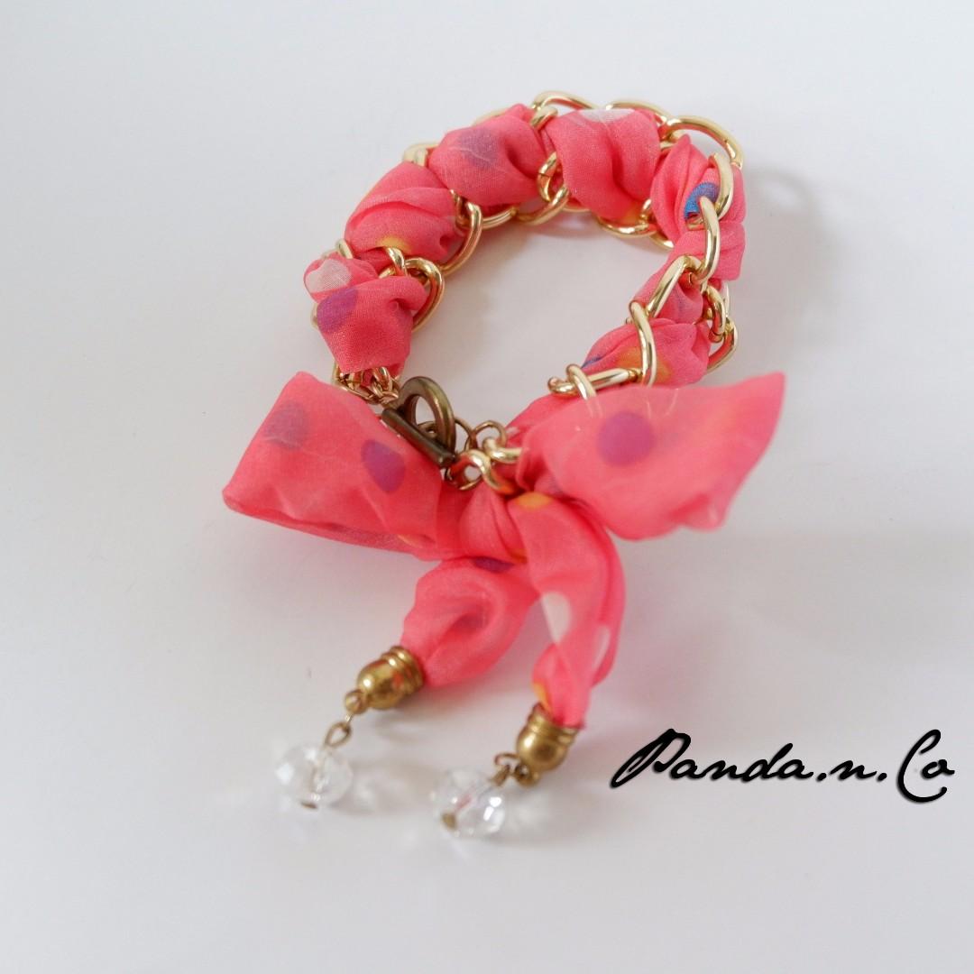 Britney Necklace - Pink / Gelang Korea / Gelang Pita