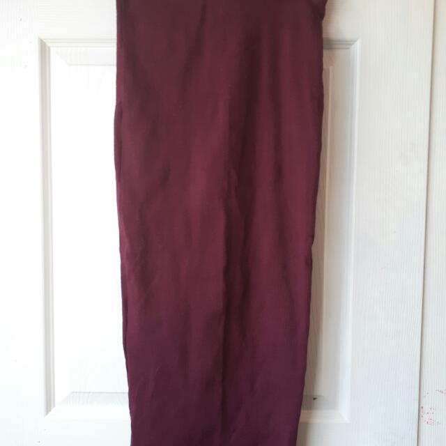Burgundy Bodcon Maxi Skirt.