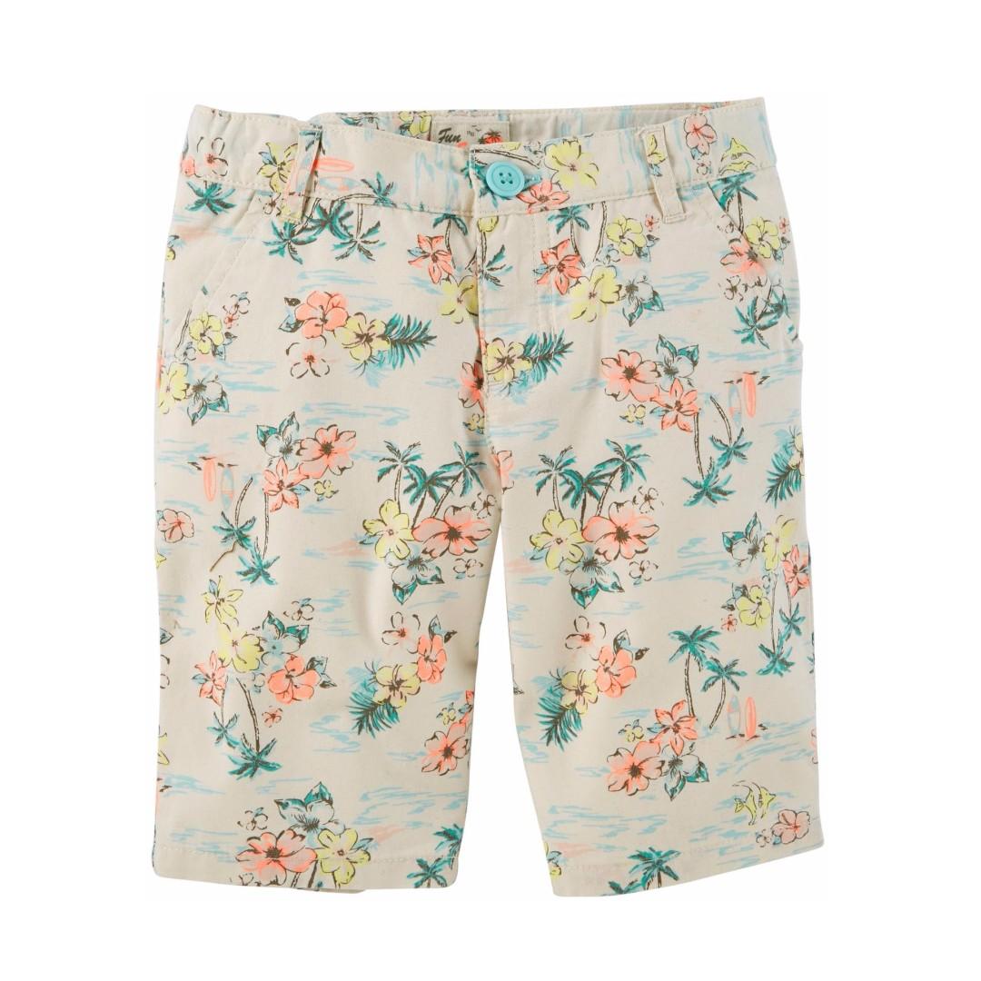 Carter's 女童短褲 棕梠樹 6T-7T 美國卡特 腰部鬆緊帶調整鈕扣 中童 Uniqlo Gap Zara Cater