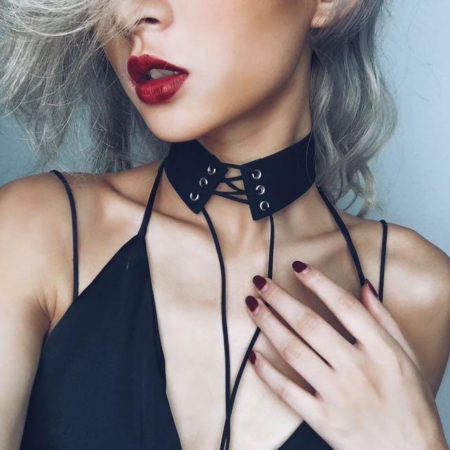 歐美風chic麂皮項圈 交叉綁帶系帶 頸鏈超美~超好質感