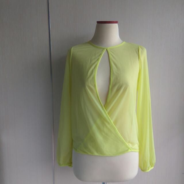 Chiffon Neon Green Top