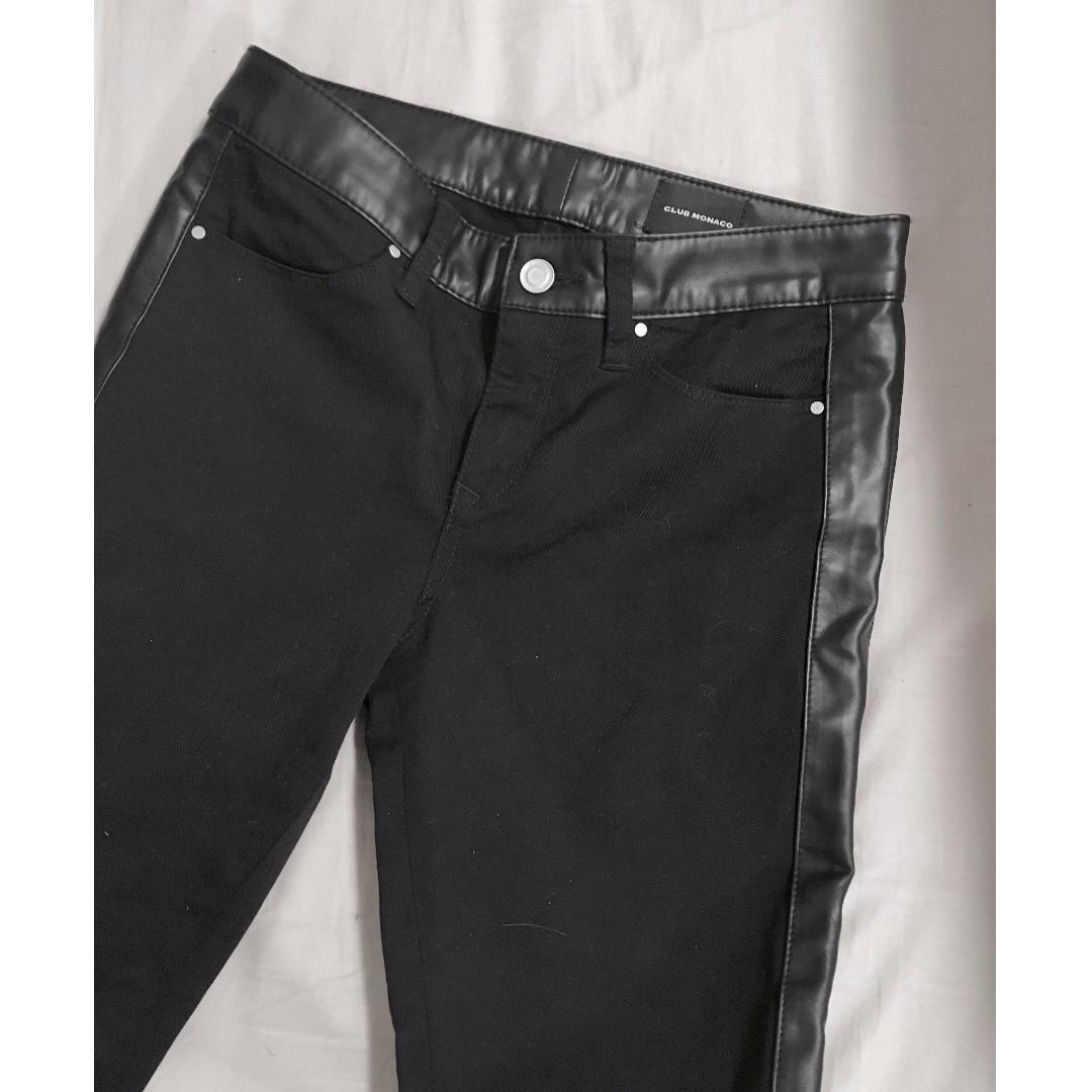 Club Monaco - Leather Tuxedo Stripe Pants (W25)