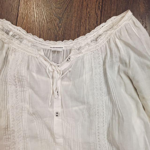 Club Monaco White Cotton Lace Dress