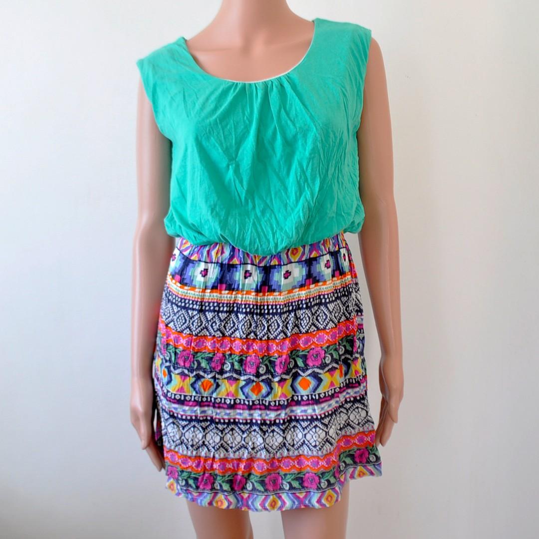 Colorful Aztec Cotton Dress