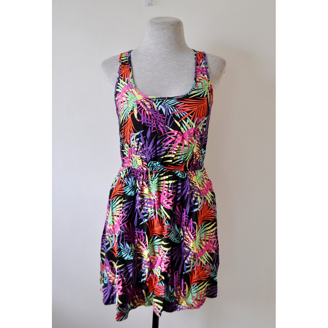 Colorful Palm Leaves Print Dress
