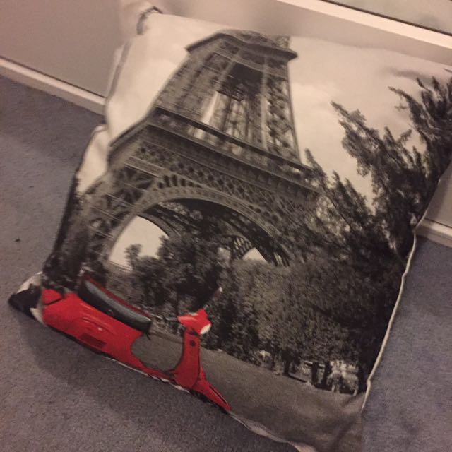 Cushion Cover Paris France Scooter Typo