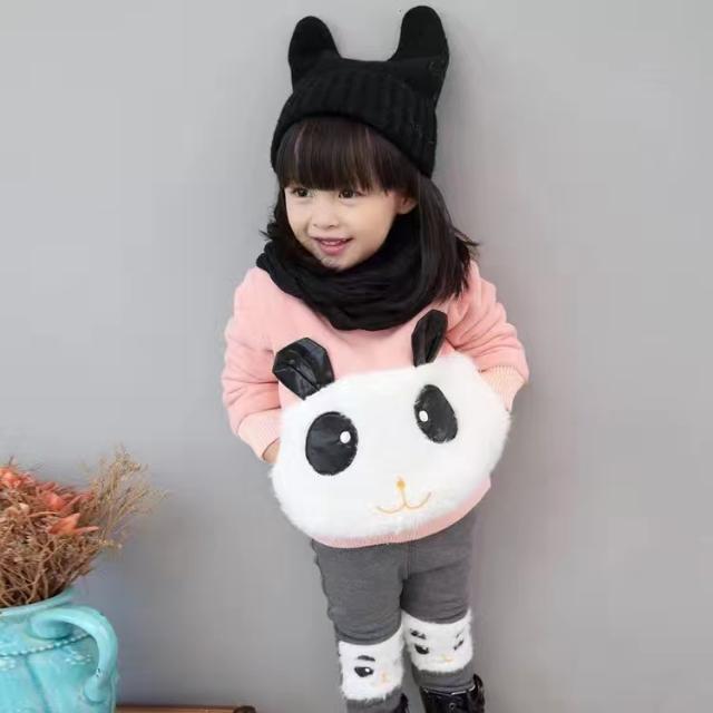 Cute fluffy Matching Set Panda Jumper And Pants