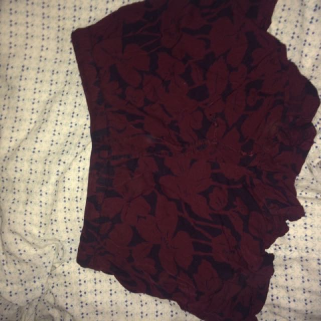 Dark Red Patterned Fabric Shorts