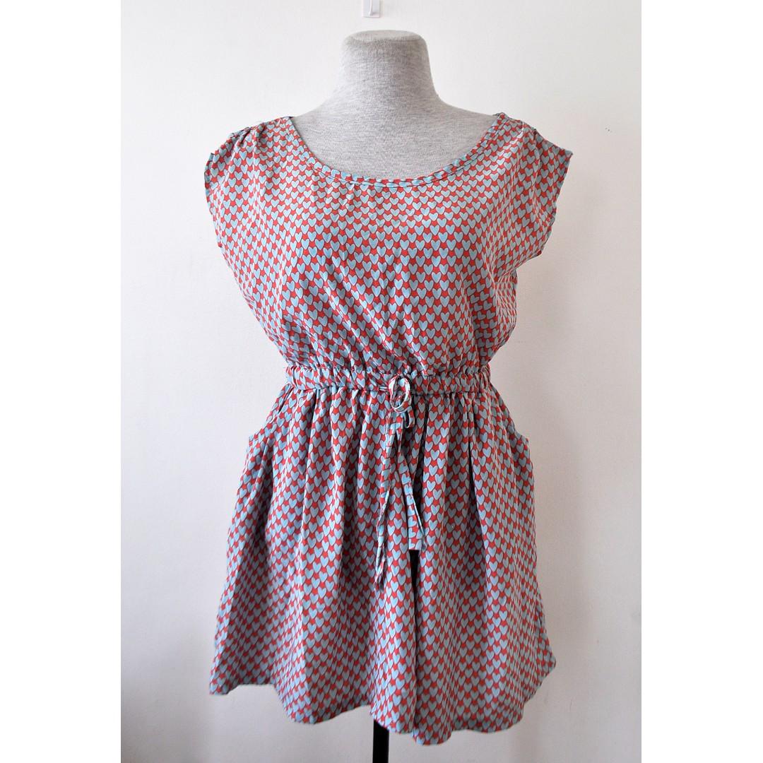 Flowy Heart Printed Dress