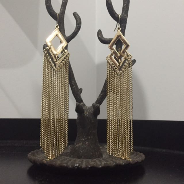 Gold Diamond-shaped Earrings