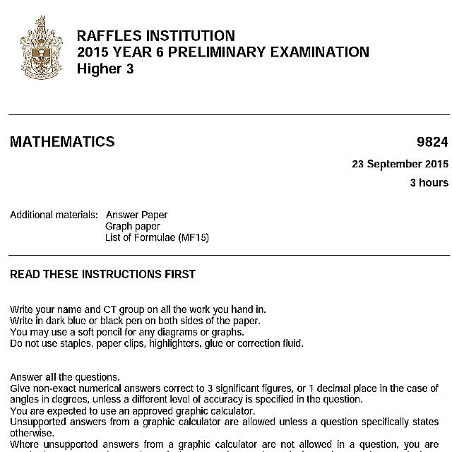 H3 Mathematics Prelim Papers With Full Solutions, Books