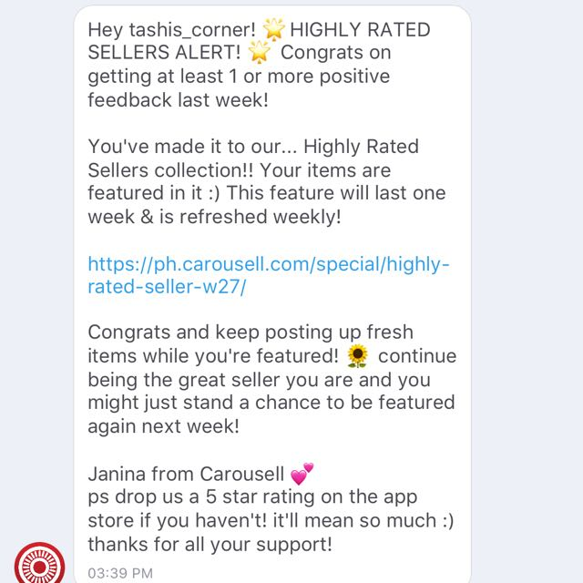 HIGHLY RATED SELLER!!!!👏👏👏 THANKYOU SO MUCH CAROUSELL!!!!!