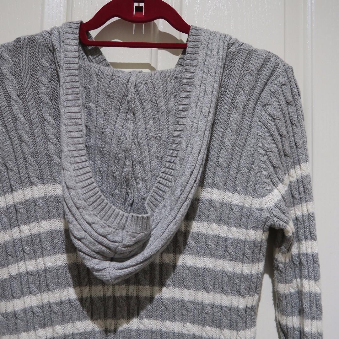 Hooded Grey Stripe Knit