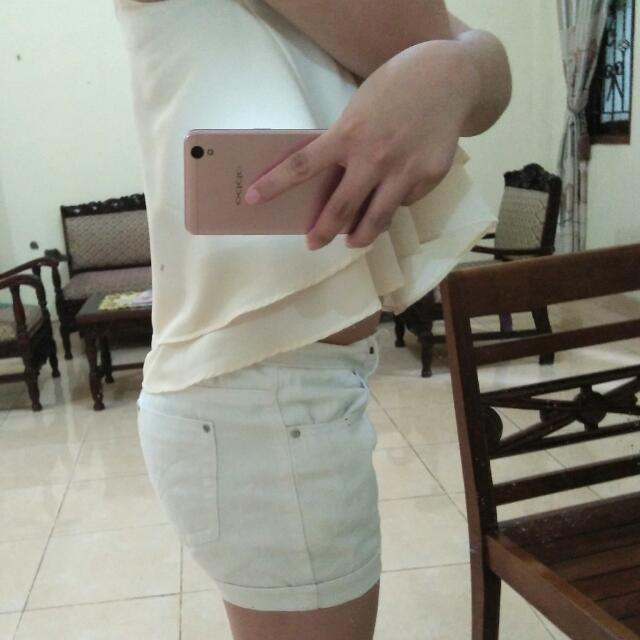 Hotpants Jeans Color White