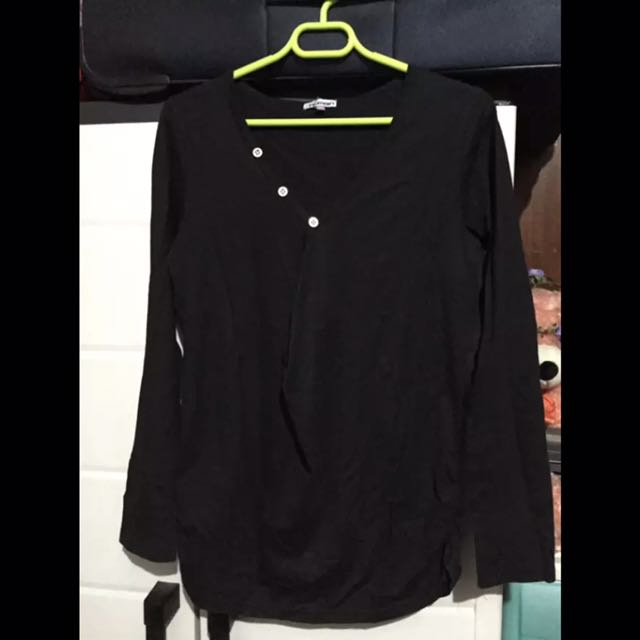HUMAN Black Long Sleeves Blouse