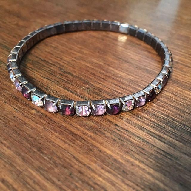 Purple Jewelled Stretch Bracelet