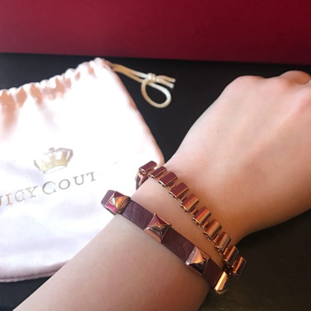 Juicy Couture Leather Rose Gold Wrap Bracelet