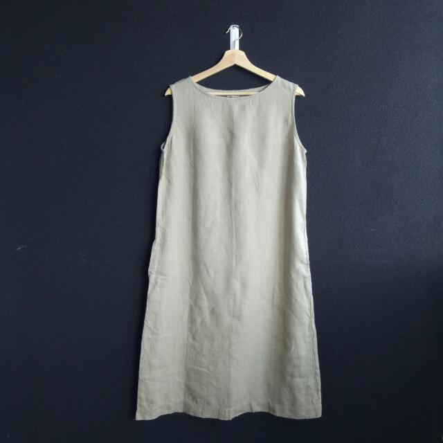 Linenfox Beige Midi Dress [M]