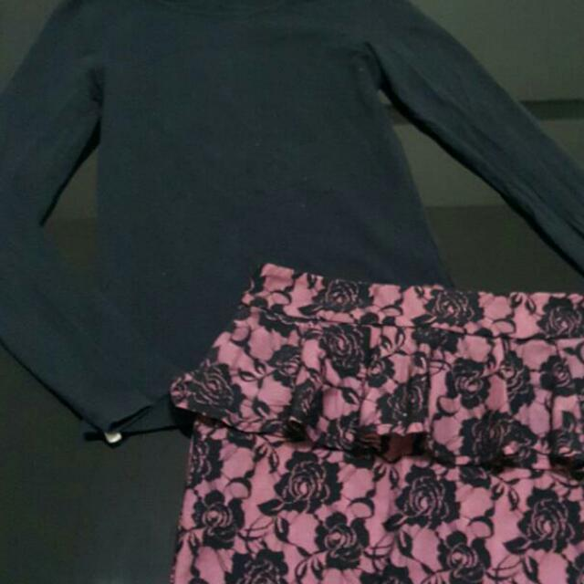 Mango Black Longsleeve Shirt With Black And Pink Embroidered Lining Skirt
