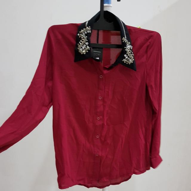 Maroon Embroidery Top