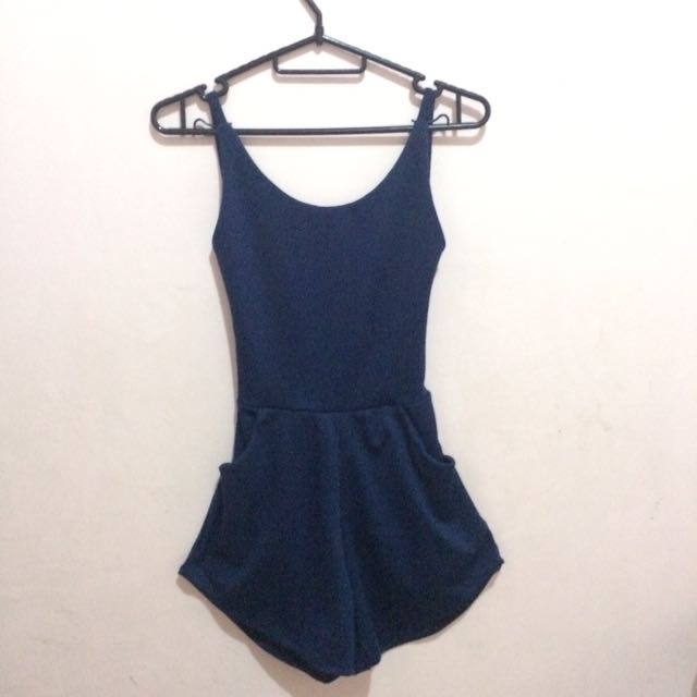 Navy Blue Backless Romper