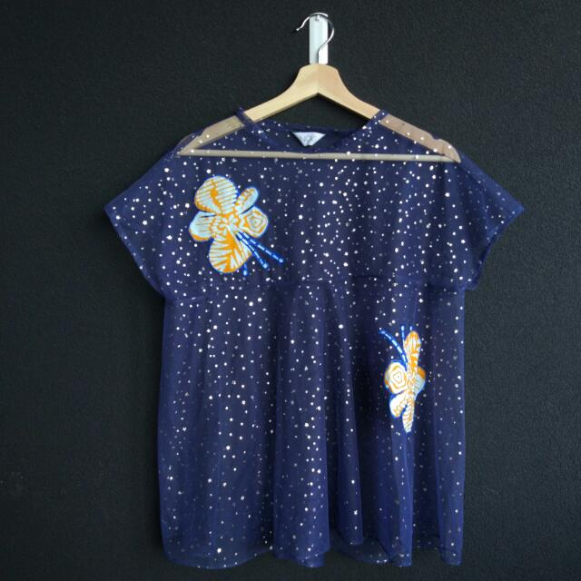 Noki See Through Top With Batik Patch Details [Free Size]