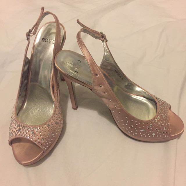 Novo Size 8 Slingbacks Dusty Pink Jewelled Heels Stilettos