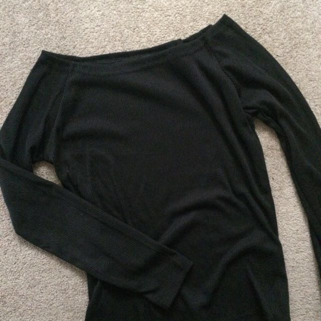 Off Shoulder Black Long Sleeve