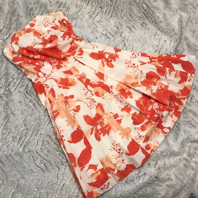Orange Floral Strapless Dress (Le Château size XXS