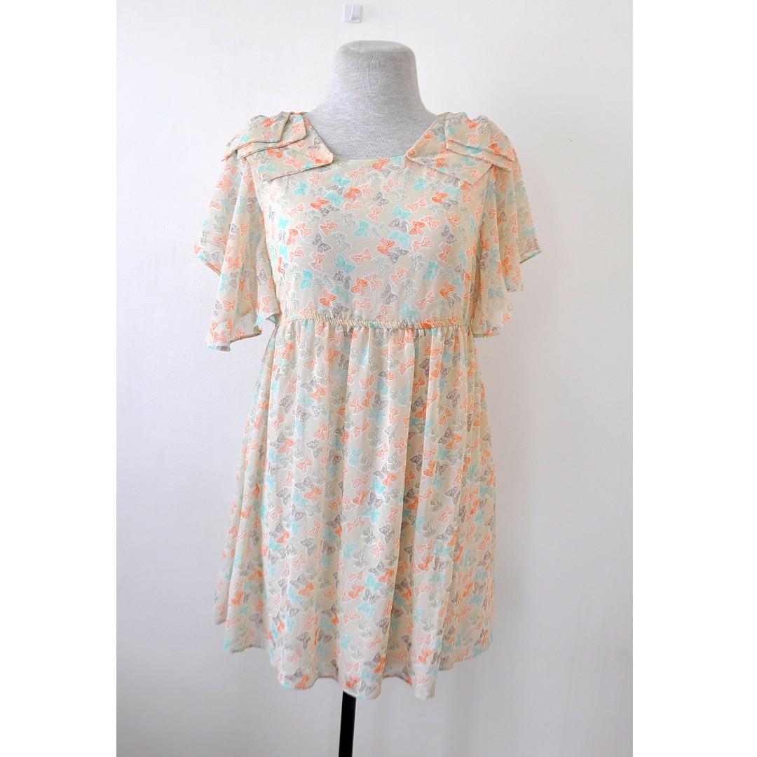 Orange Ribbon Print Dress