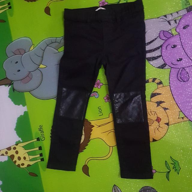 Preloved H&M Girls Black Skinny Pants with Leather Knee Patch