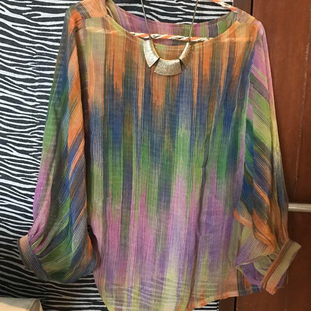 Preloved Rainbow Blouse
