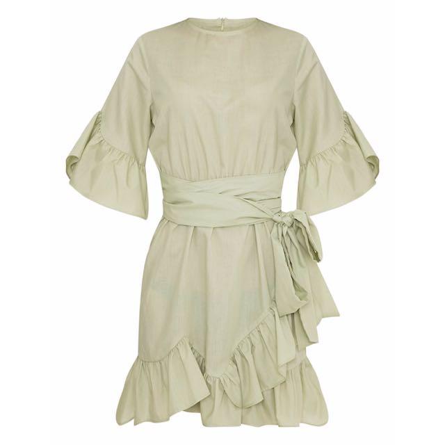 Prettylittlething Sage Green Ruffle Frill Wrap Dress Pretty Little Thing