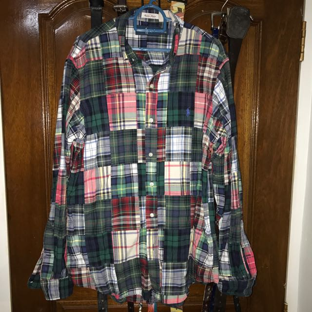 65807312 Ralph Lauren Patchwork Shirt In Size Medium, Men's Fashion, Clothes on  Carousell
