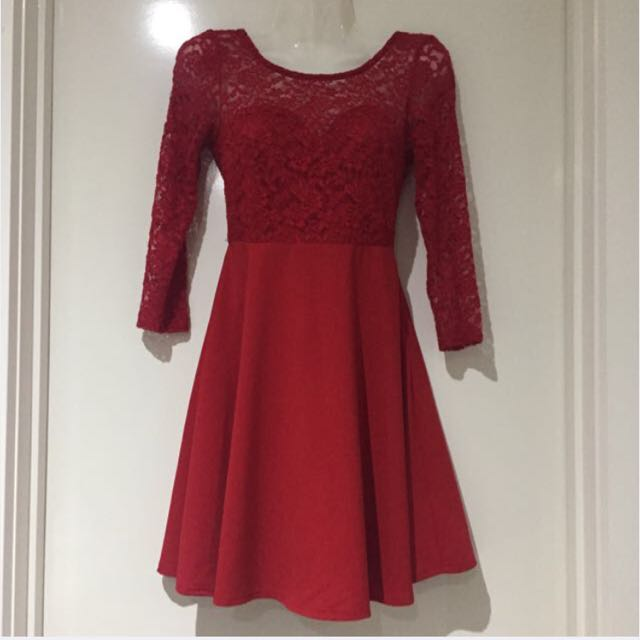 Red Skater Dress Lace